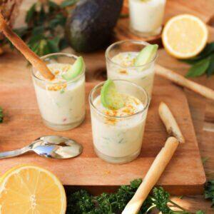 Des verrines délicieuses en faisant le plein de ferments pour un microbiote équilibré avec une base de yaourt végétal au soja !